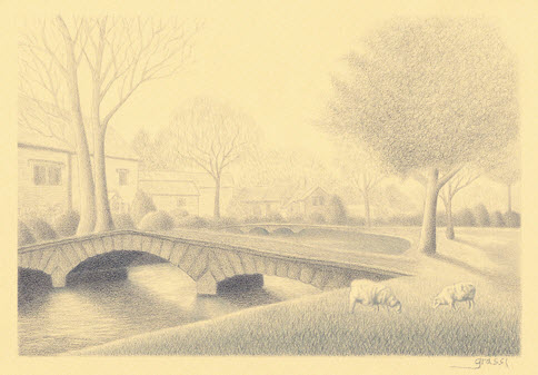 Pencil sketch of river scene at Bourton-on-the-Water