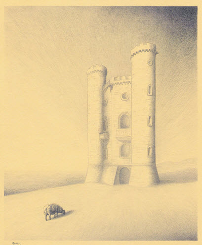 Pencil sketch of Broadway Tower by Richard Grassi