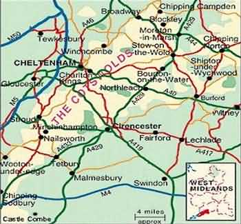 Map Of The Cotswolds Tour and Travel Maps of the Cotswolds England UK Map Of The Cotswolds